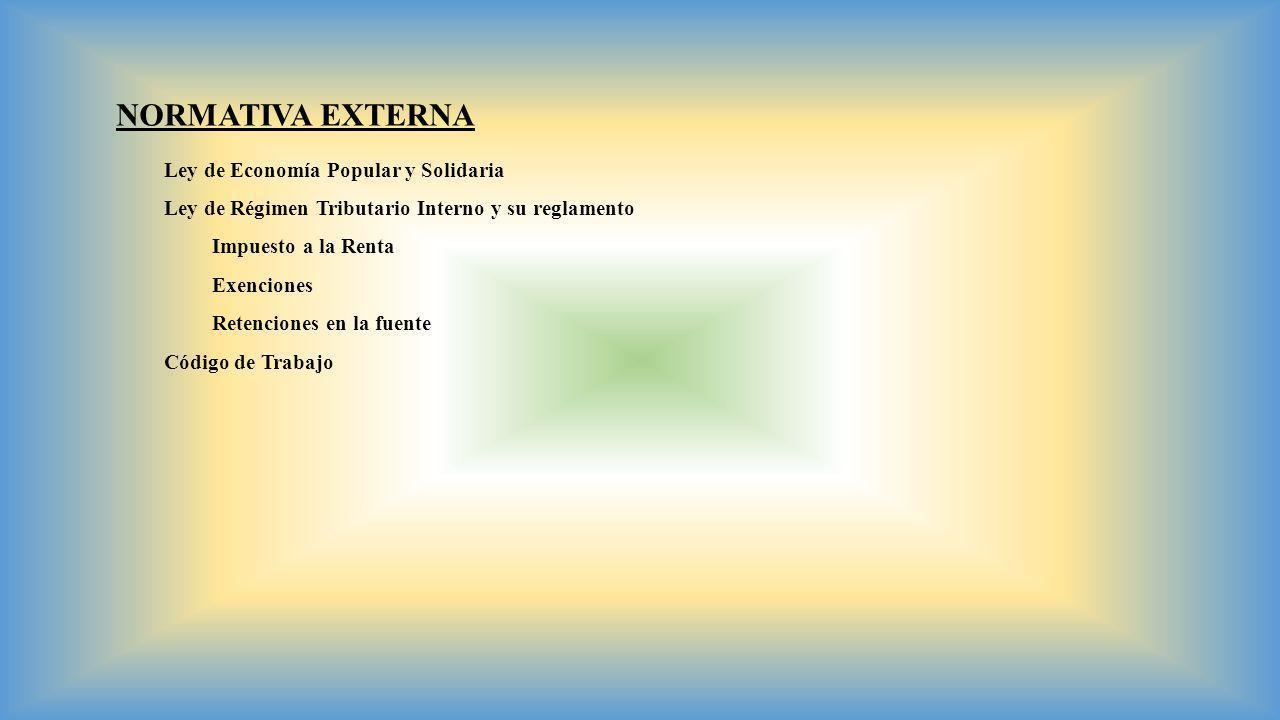 NORMATIVA EXTERNA Ley de Economía Popular y Solidaria Ley de Régimen Tributario Interno y su reglamento Impuesto a la Renta Exenciones Retenciones en