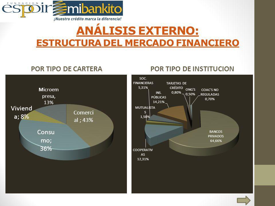 ANÁLISIS EXTERNO: ESTRUCTURA DEL MERCADO FINANCIERO POR TIPO DE CARTERAPOR TIPO DE INSTITUCION