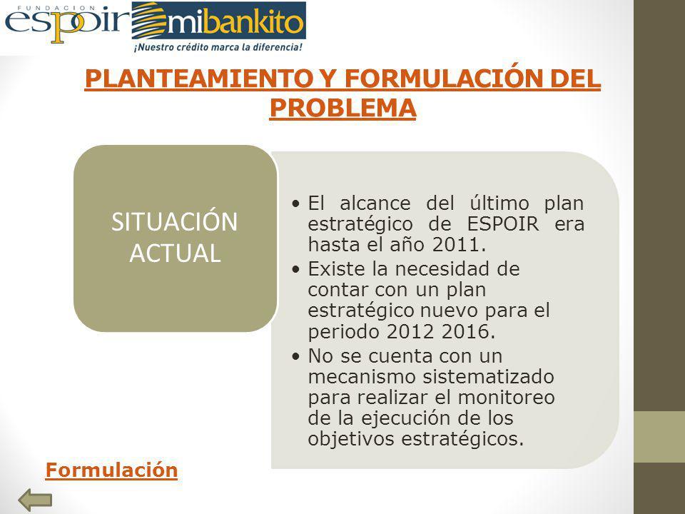 PLANTEAMIENTO Y FORMULACIÓN DEL PROBLEMA Formulación El alcance del último plan estratégico de ESPOIR era hasta el año 2011.