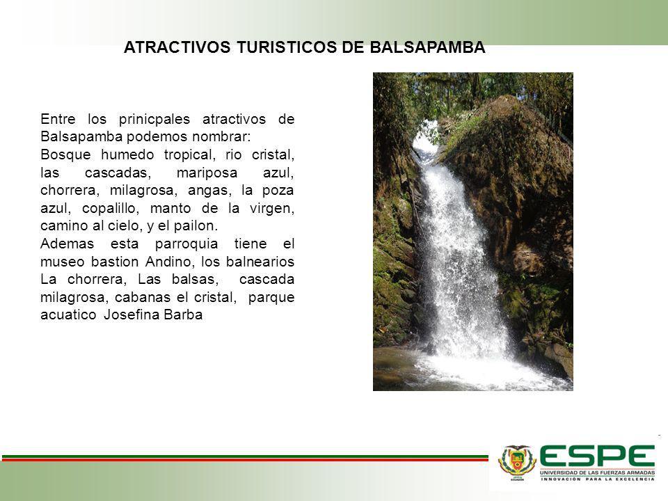 Entre los prinicpales atractivos de Balsapamba podemos nombrar: Bosque humedo tropical, rio cristal, las cascadas, mariposa azul, chorrera, milagrosa,