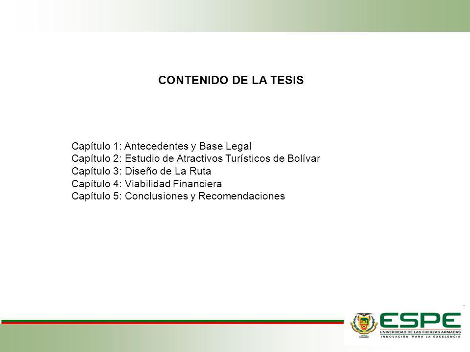 Capítulo 1: Antecedentes y Base Legal Capítulo 2: Estudio de Atractivos Turísticos de Bolívar Capítulo 3: Diseño de La Ruta Capítulo 4: Viabilidad Fin