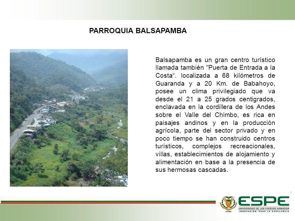 PARROQUIA BALSAPAMBA Balsapamba es un gran centro turístico llamada también
