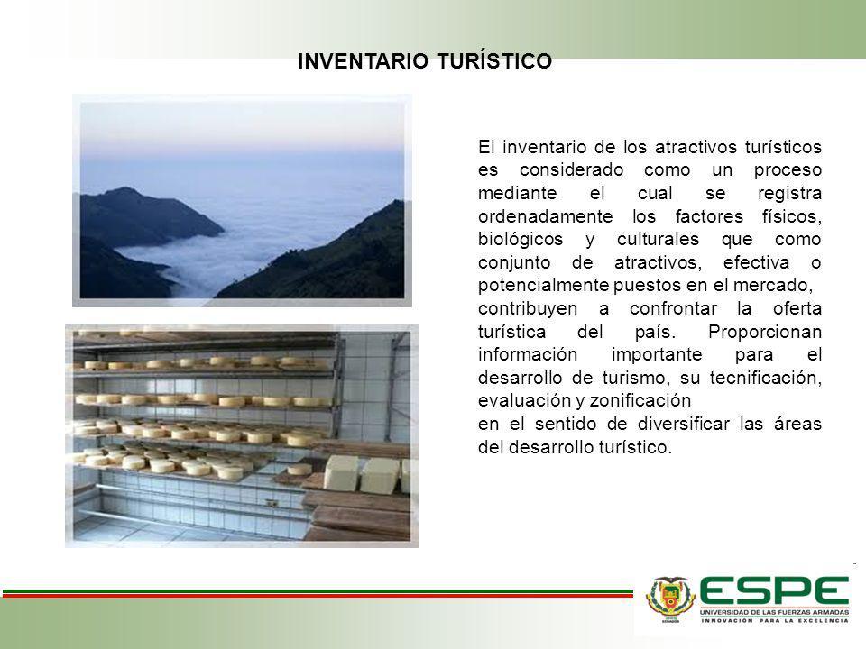 INVENTARIO TURÍSTICO El inventario de los atractivos turísticos es considerado como un proceso mediante el cual se registra ordenadamente los factores