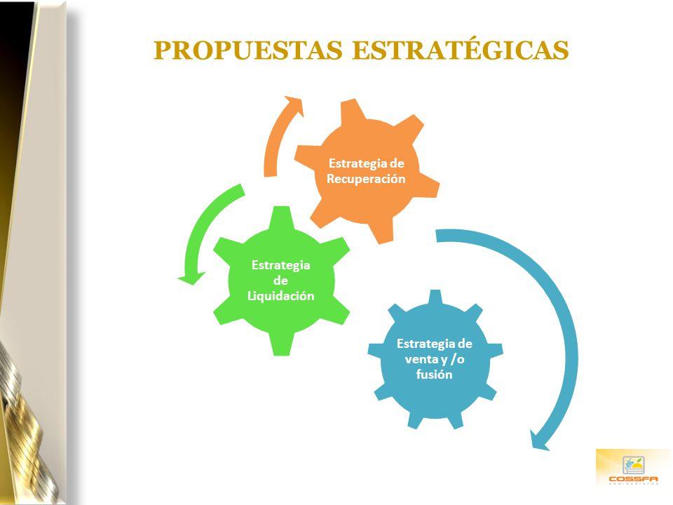 PROPUESTAS ESTRATÉGICAS Estrategia de venta y /o fusión Estrategia de Liquidación Estrategia de Recuperación