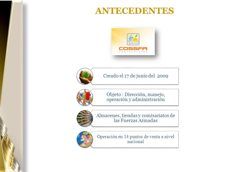 ANTECEDENTES Creado el 17 de junio del 2009 Objeto : Dirección, manejo, operación y administración Almacenes, tiendas y comisariatos de las Fuerzas Ar