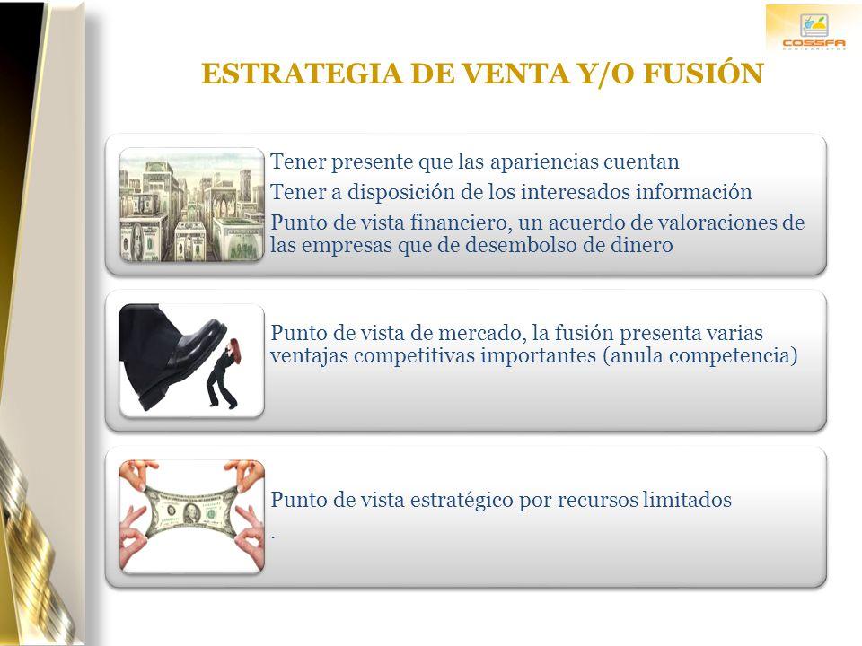 ESTRATEGIA DE VENTA Y/O FUSIÓN Tener presente que las apariencias cuentan Tener a disposición de los interesados información Punto de vista financiero