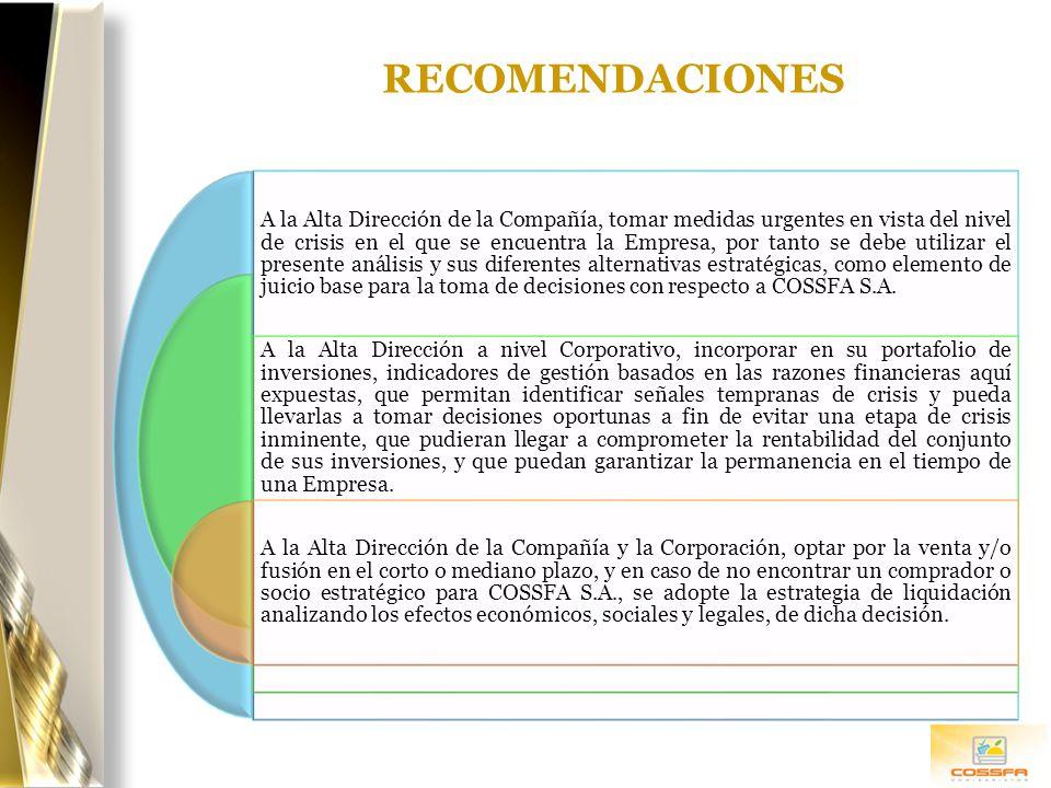 RECOMENDACIONES A la Alta Dirección de la Compañía, tomar medidas urgentes en vista del nivel de crisis en el que se encuentra la Empresa, por tanto s