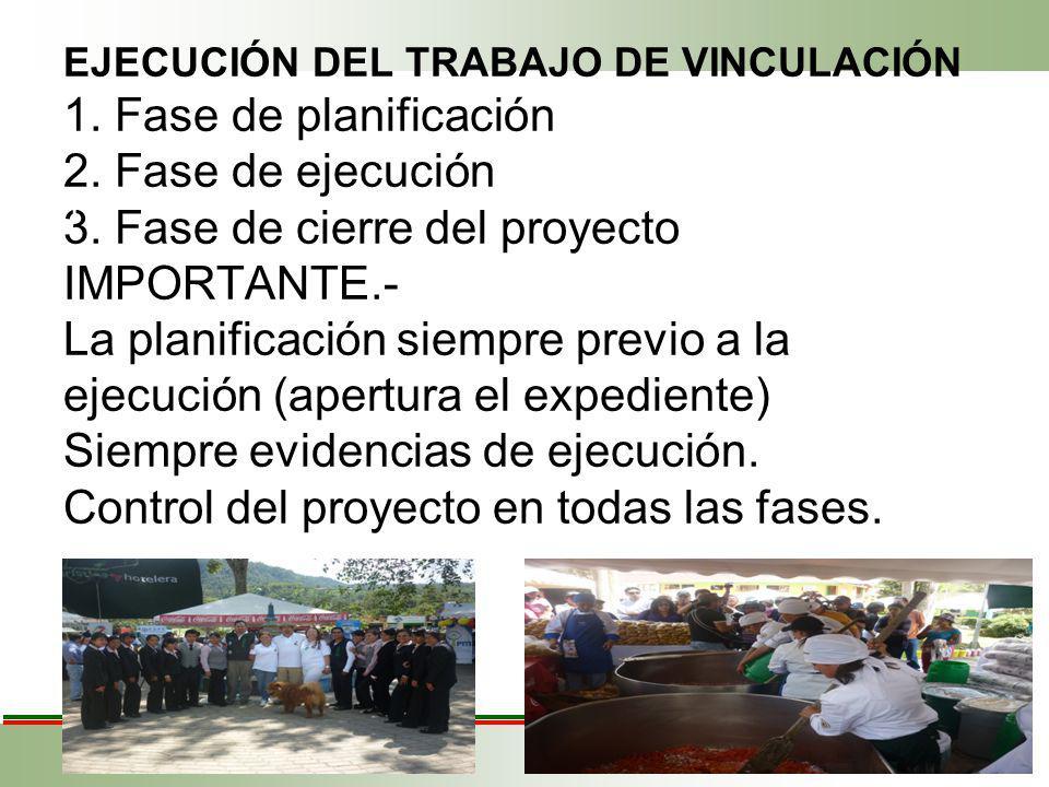EJECUCIÓN DEL TRABAJO DE VINCULACIÓN 1. Fase de planificación 2.