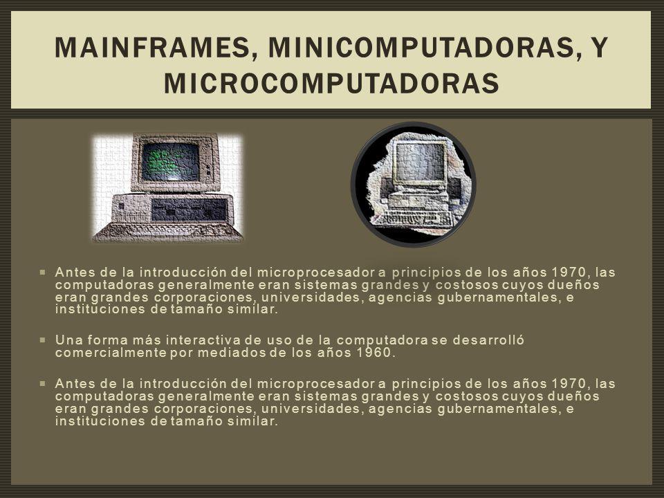 Antes de la introducción del microprocesador a principios de los años 1970, las computadoras generalmente eran sistemas grandes y costosos cuyos dueño