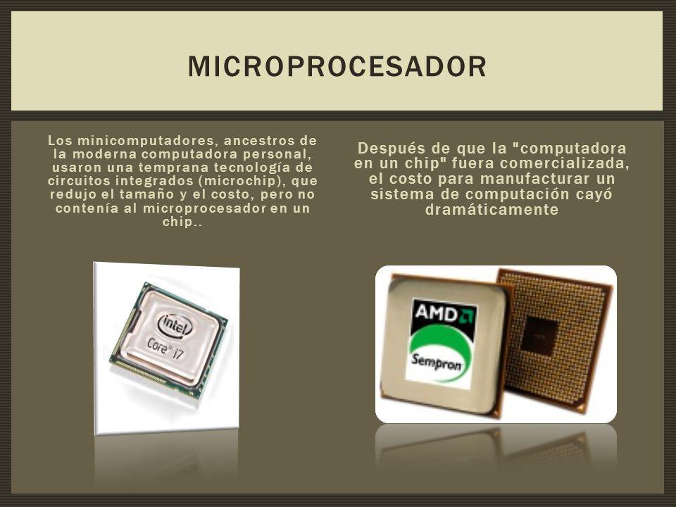 Los minicomputadores, ancestros de la moderna computadora personal, usaron una temprana tecnología de circuitos integrados (microchip), que redujo el tamaño y el costo, pero no contenía al microprocesador en un chip..