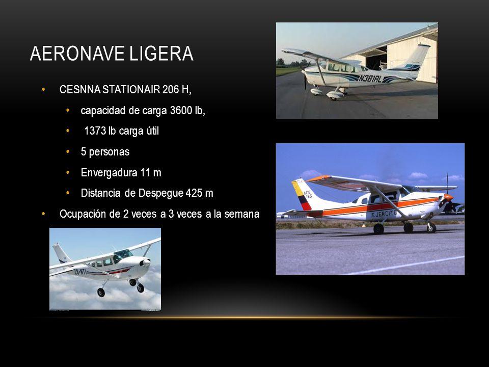 CESNNA STATIONAIR 206 H, capacidad de carga 3600 lb, 1373 lb carga útil 5 personas Envergadura 11 m Distancia de Despegue 425 m Ocupación de 2 veces a