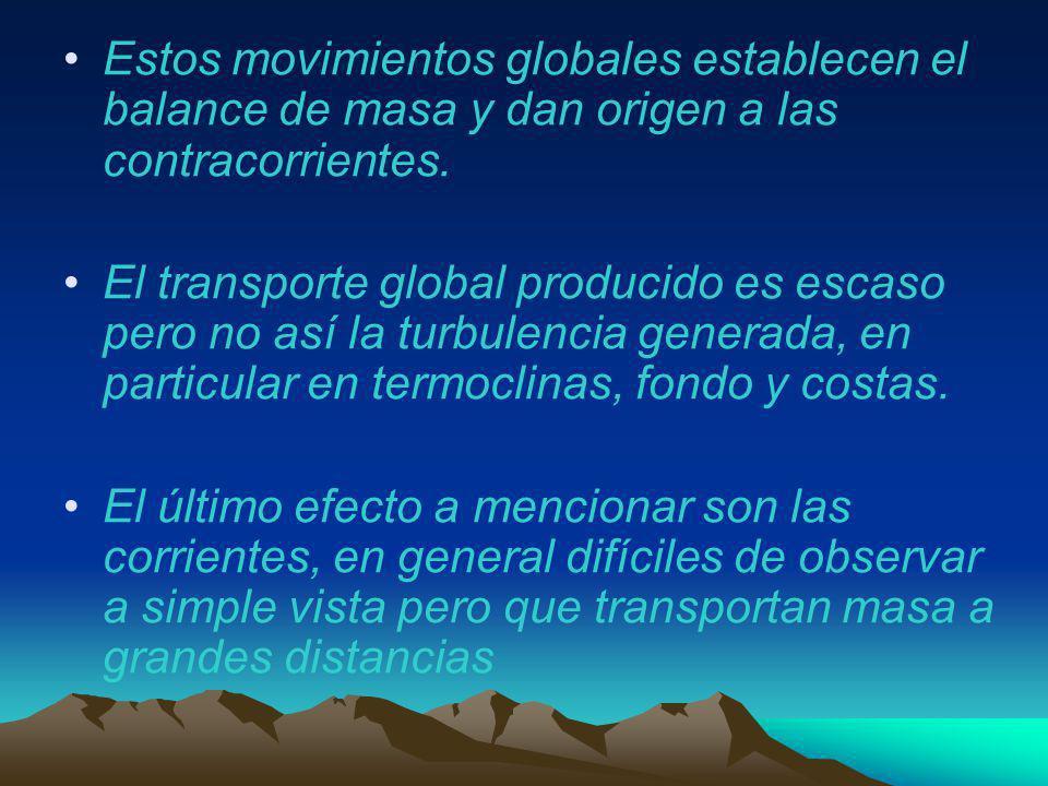 Estos movimientos globales establecen el balance de masa y dan origen a las contracorrientes. El transporte global producido es escaso pero no así la