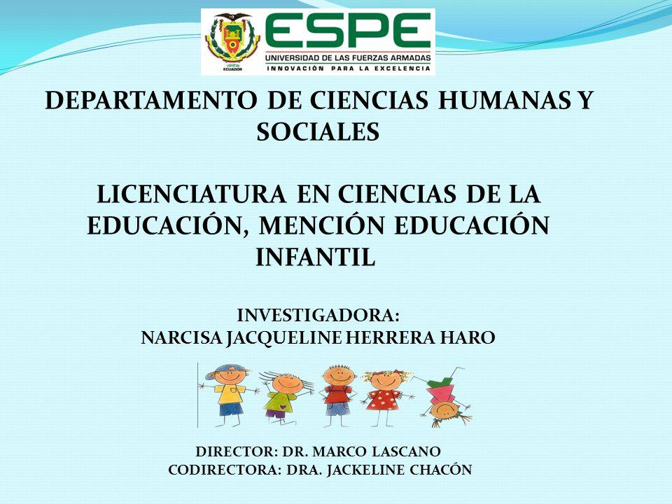 DEPARTAMENTO DE CIENCIAS HUMANAS Y SOCIALES LICENCIATURA EN CIENCIAS DE LA EDUCACIÓN, MENCIÓN EDUCACIÓN INFANTIL INVESTIGADORA: NARCISA JACQUELINE HER