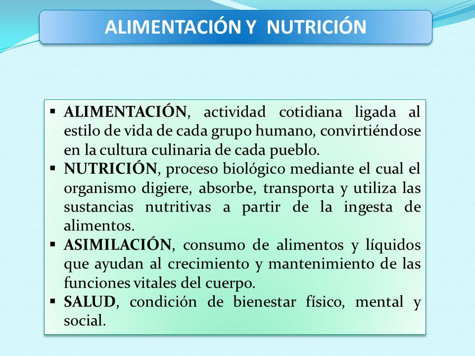 ALIMENTACIÓN Y NUTRICIÓN ALIMENTACIÓN, actividad cotidiana ligada al estilo de vida de cada grupo humano, convirtiéndose en la cultura culinaria de ca
