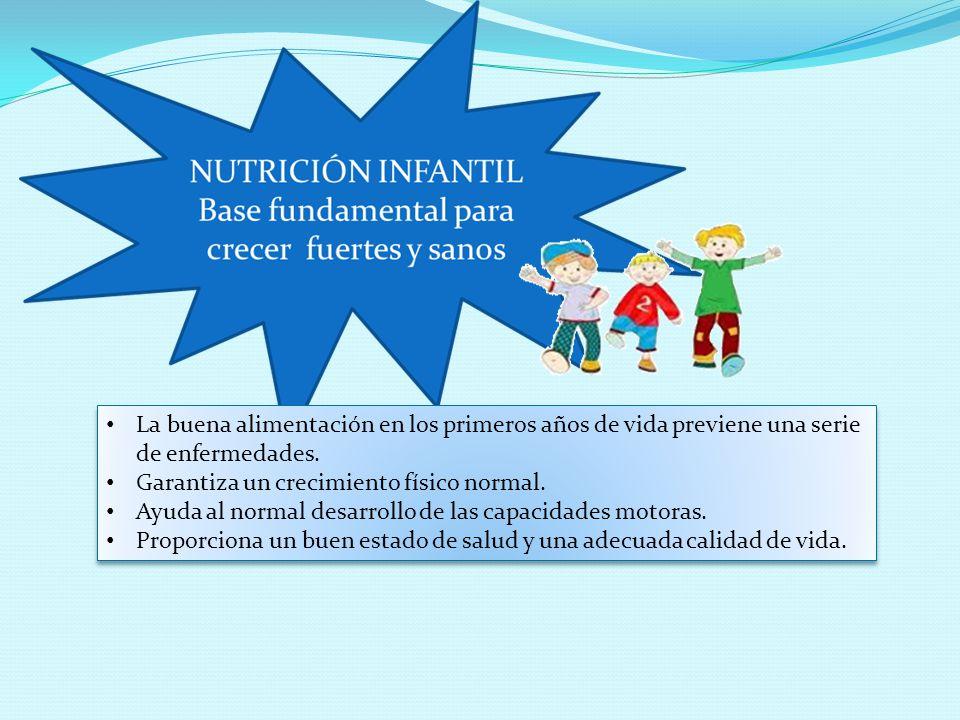La buena alimentación en los primeros años de vida previene una serie de enfermedades. Garantiza un crecimiento físico normal. Ayuda al normal desarro