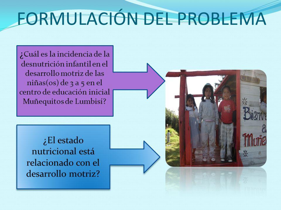 FORMULACIÓN DEL PROBLEMA ¿ Cuál es la incidencia de la desnutrición infantil en el desarrollo motriz de las niñas(os) de 3 a 5 en el centro de educaci