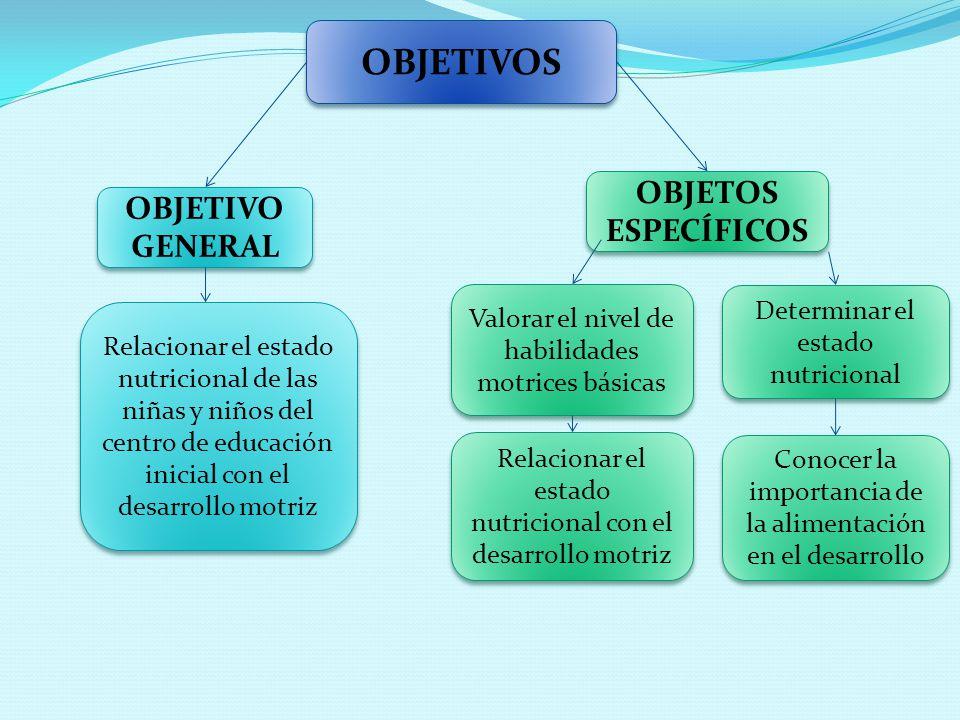 OBJETIVOS OBJETOS ESPECÍFICOS OBJETIVO GENERAL Relacionar el estado nutricional de las niñas y niños del centro de educación inicial con el desarrollo