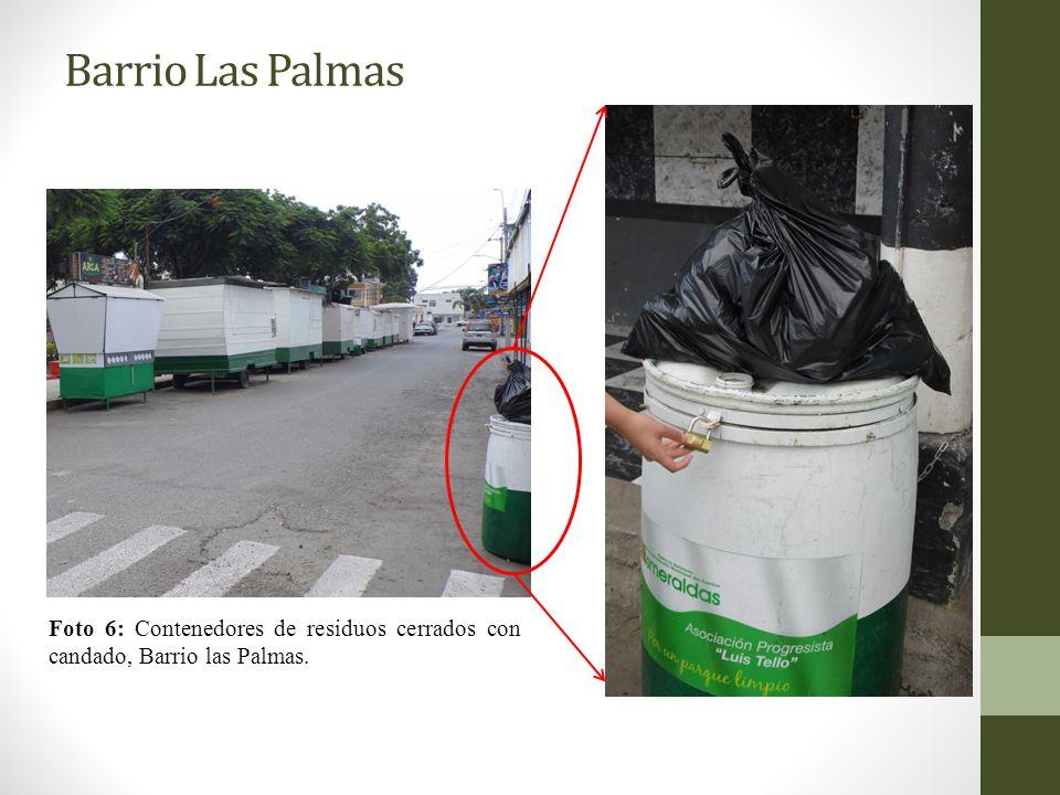 Barrio Las Palmas Foto 6: Contenedores de residuos cerrados con candado, Barrio las Palmas.