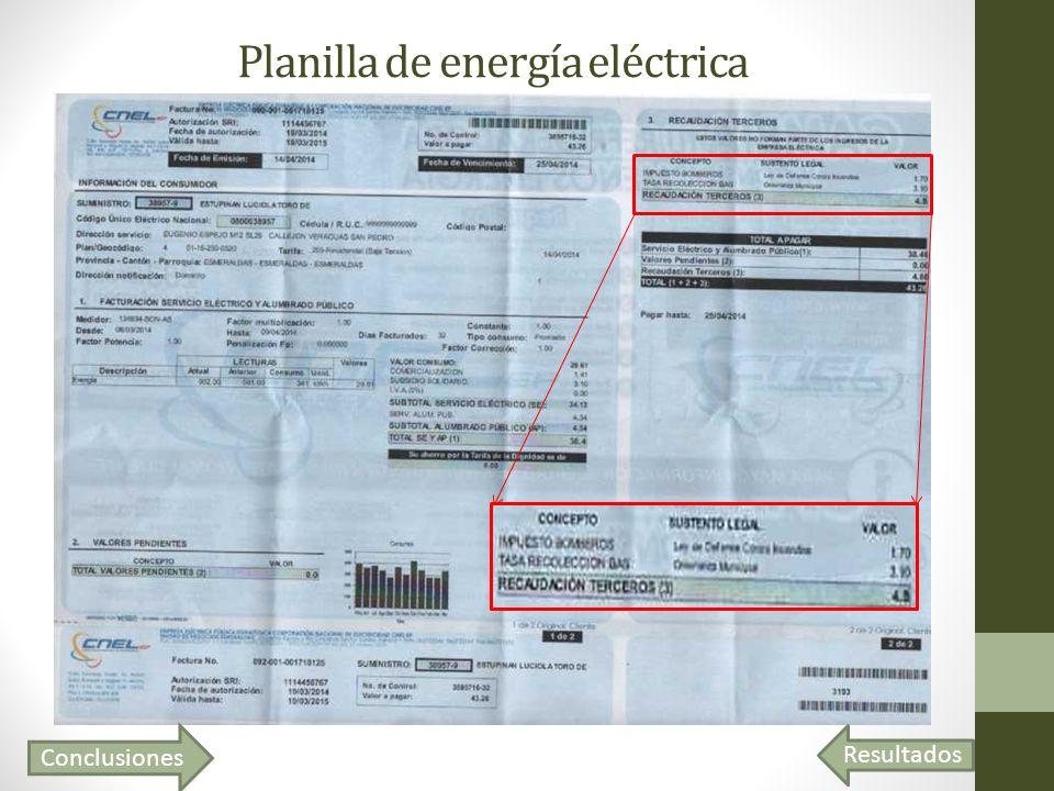 Resultados Planilla de energía eléctrica Conclusiones