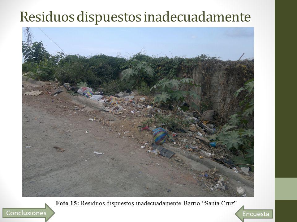 Residuos dispuestos inadecuadamente Foto 15: Residuos dispuestos inadecuadamente Barrio Santa Cruz Conclusiones Encuesta