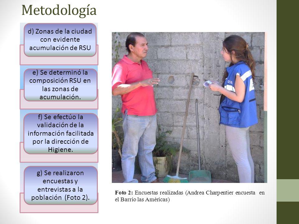 Metodología h) Se realizó un seguimiento a 2 rutas de recolección municipales.