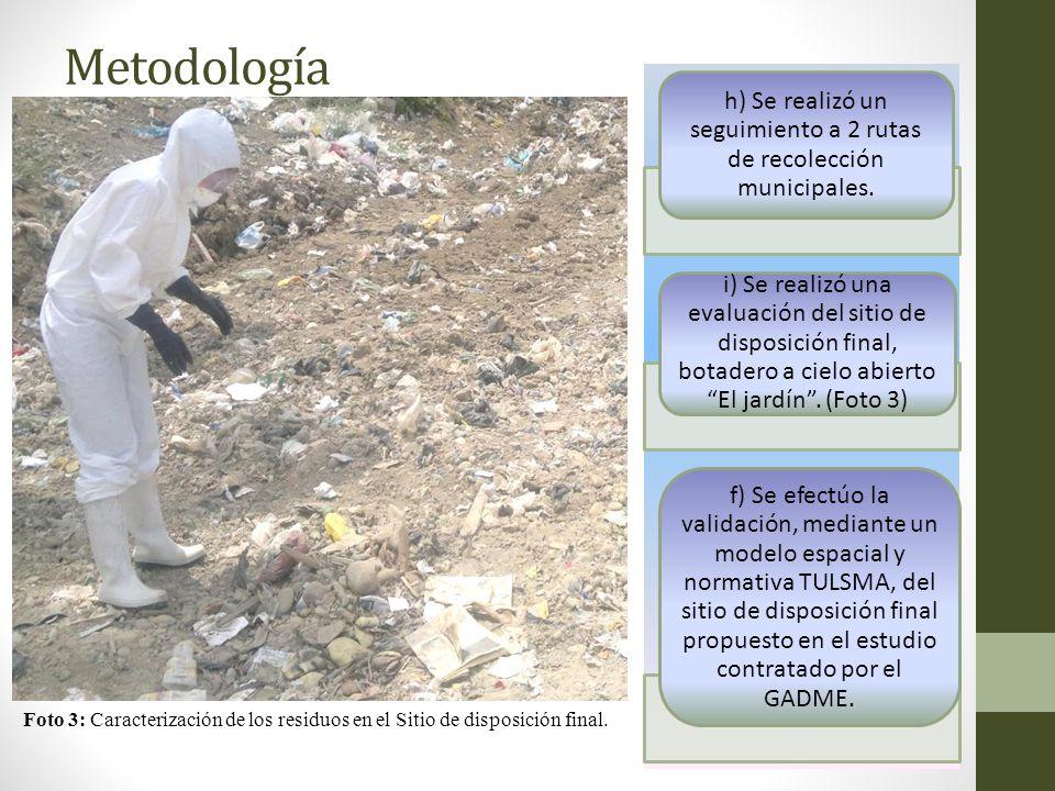Metodología h) Se realizó un seguimiento a 2 rutas de recolección municipales. i) Se realizó una evaluación del sitio de disposición final, botadero a