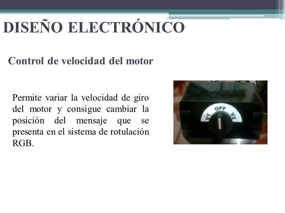 DISEÑO ELECTRÓNICO Permite variar la velocidad de giro del motor y consigue cambiar la posición del mensaje que se presenta en el sistema de rotulació