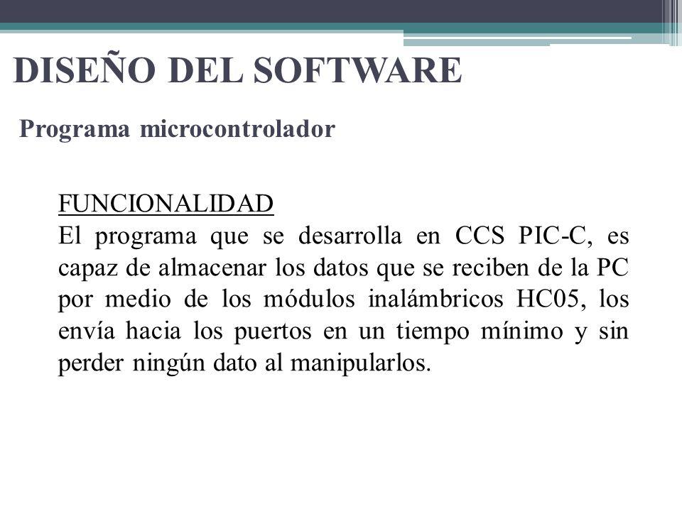 DISEÑO DEL SOFTWARE Programa microcontrolador FUNCIONALIDAD El programa que se desarrolla en CCS PIC-C, es capaz de almacenar los datos que se reciben