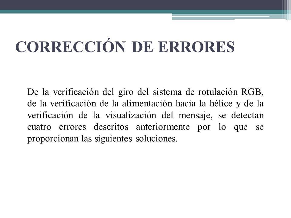 CORRECCIÓN DE ERRORES De la verificación del giro del sistema de rotulación RGB, de la verificación de la alimentación hacia la hélice y de la verific