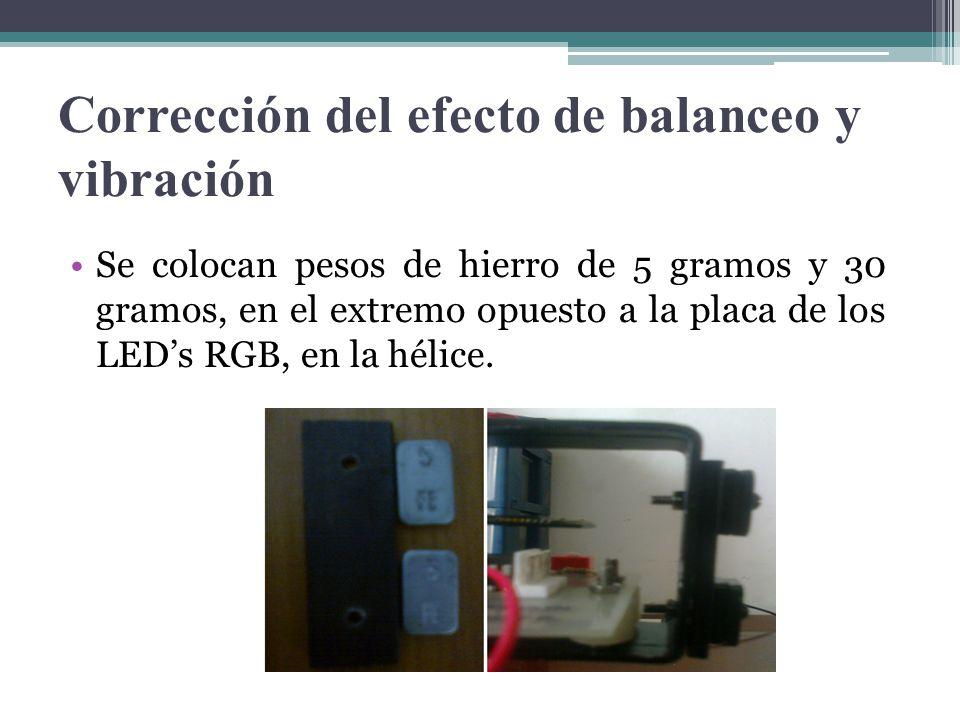 Corrección del efecto de balanceo y vibración Se colocan pesos de hierro de 5 gramos y 30 gramos, en el extremo opuesto a la placa de los LEDs RGB, en