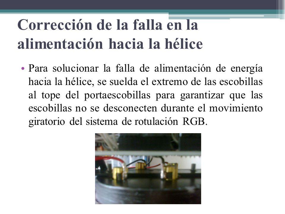 Corrección de la falla en la alimentación hacia la hélice Para solucionar la falla de alimentación de energía hacia la hélice, se suelda el extremo de