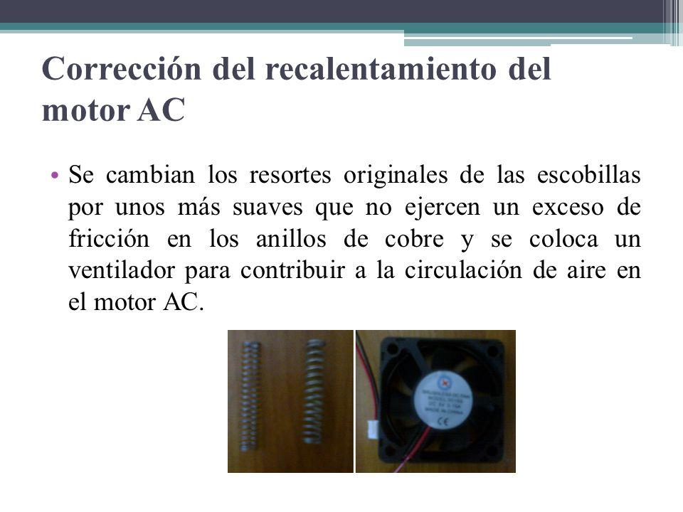 Corrección del recalentamiento del motor AC Se cambian los resortes originales de las escobillas por unos más suaves que no ejercen un exceso de fricc