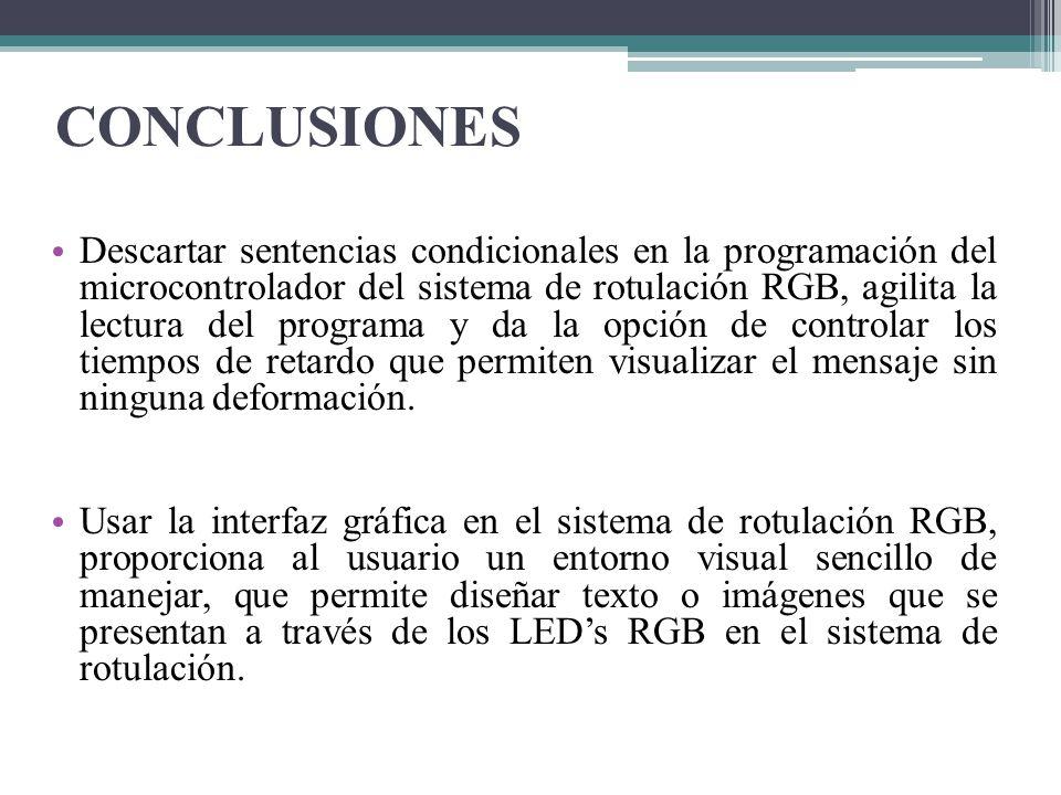 CONCLUSIONES Descartar sentencias condicionales en la programación del microcontrolador del sistema de rotulación RGB, agilita la lectura del programa