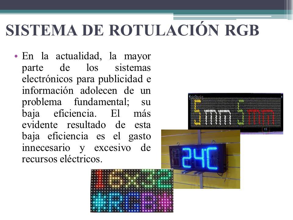 SISTEMA DE ROTULACIÓN RGB En la actualidad, la mayor parte de los sistemas electrónicos para publicidad e información adolecen de un problema fundamen