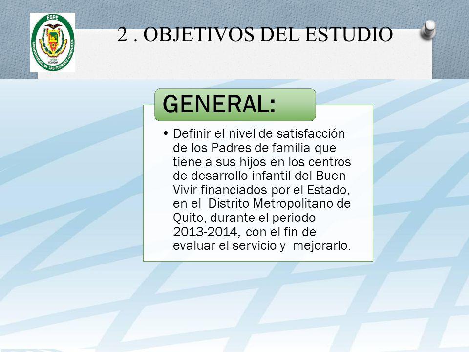 2. OBJETIVOS DEL ESTUDIO Definir el nivel de satisfacción de los Padres de familia que tiene a sus hijos en los centros de desarrollo infantil del Bue