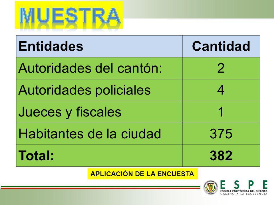 EntidadesCantidad Autoridades del cantón:2 Autoridades policiales4 Jueces y fiscales1 Habitantes de la ciudad375 Total:382 APLICACIÓN DE LA ENCUESTA
