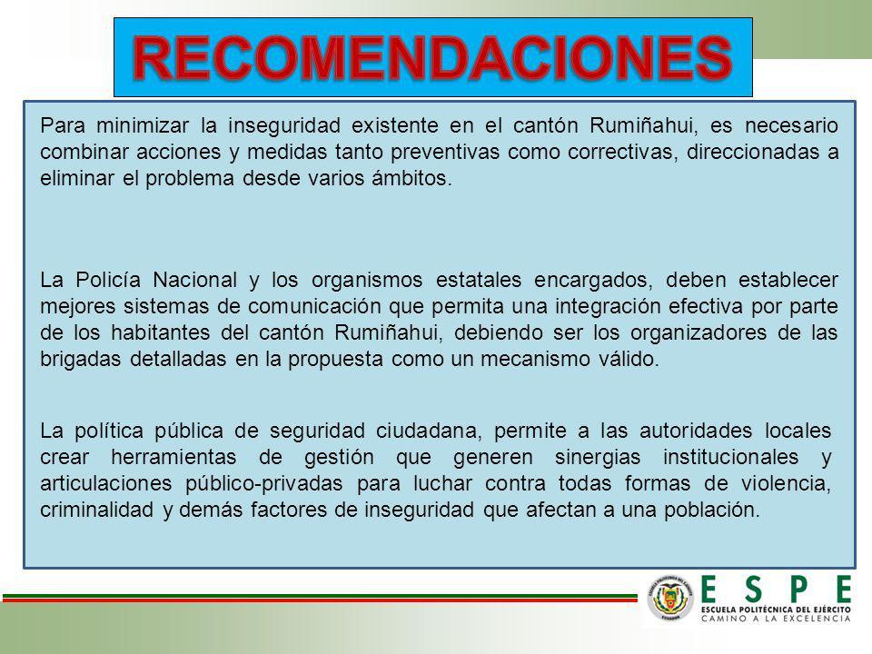 Para minimizar la inseguridad existente en el cantón Rumiñahui, es necesario combinar acciones y medidas tanto preventivas como correctivas, direccion
