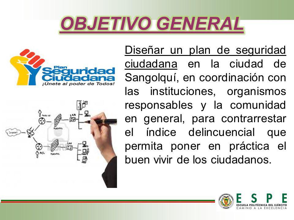 Diseñar un plan de seguridad ciudadana en la ciudad de Sangolquí, en coordinación con las instituciones, organismos responsables y la comunidad en gen