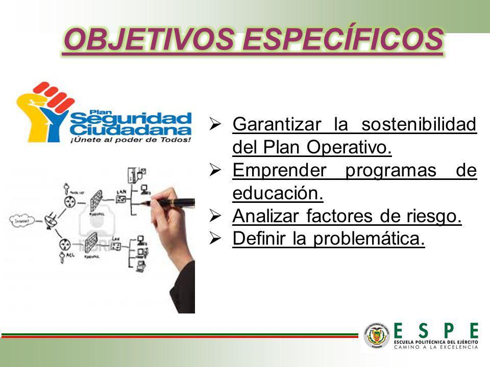 Garantizar la sostenibilidad del Plan Operativo. Emprender programas de educación. Analizar factores de riesgo. Definir la problemática.