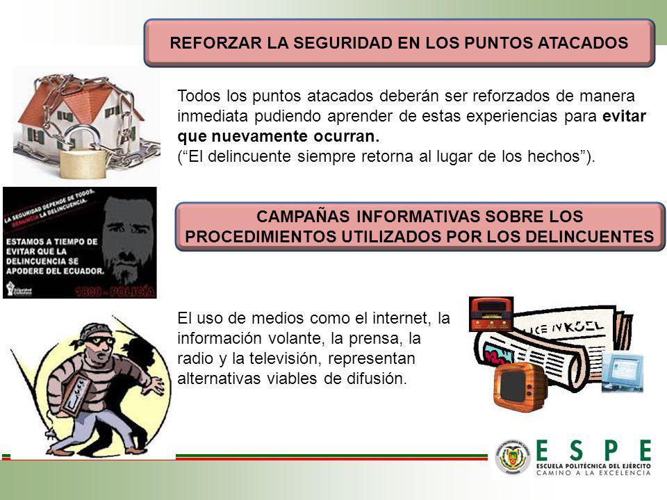 REFORZAR LA SEGURIDAD EN LOS PUNTOS ATACADOS CAMPAÑAS INFORMATIVAS SOBRE LOS PROCEDIMIENTOS UTILIZADOS POR LOS DELINCUENTES Todos los puntos atacados