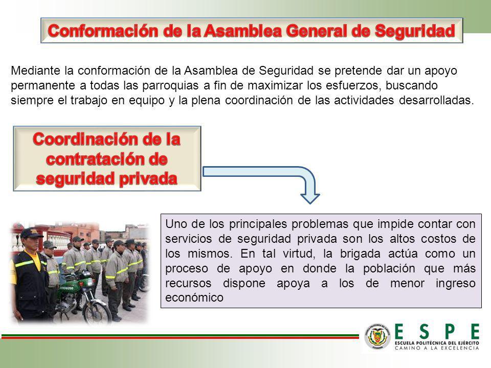 Mediante la conformación de la Asamblea de Seguridad se pretende dar un apoyo permanente a todas las parroquias a fin de maximizar los esfuerzos, busc