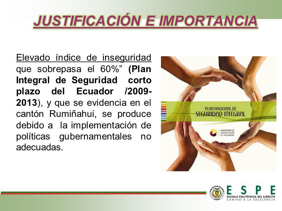 Elevado índice de inseguridad que sobrepasa el 60% (Plan Integral de Seguridad corto plazo del Ecuador /2009- 2013), y que se evidencia en el cantón R