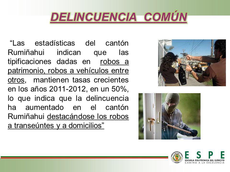 Las estadísticas del cantón Rumiñahui indican que las tipificaciones dadas en robos a patrimonio, robos a vehículos entre otros, mantienen tasas creci