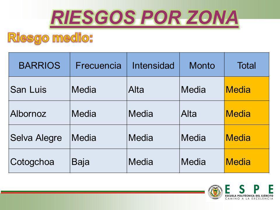 BARRIOSFrecuenciaIntensidadMontoTotal San LuisMediaAltaMedia AlbornozMedia AltaMedia Selva AlegreMedia CotogchoaBajaMedia