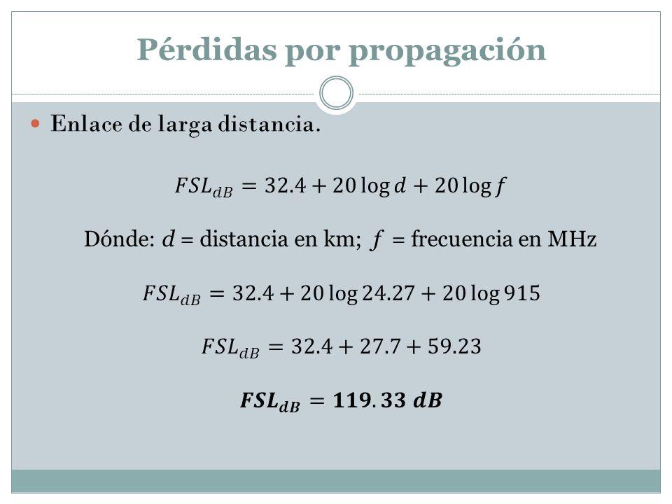 Pérdidas por propagación Enlace de larga distancia.
