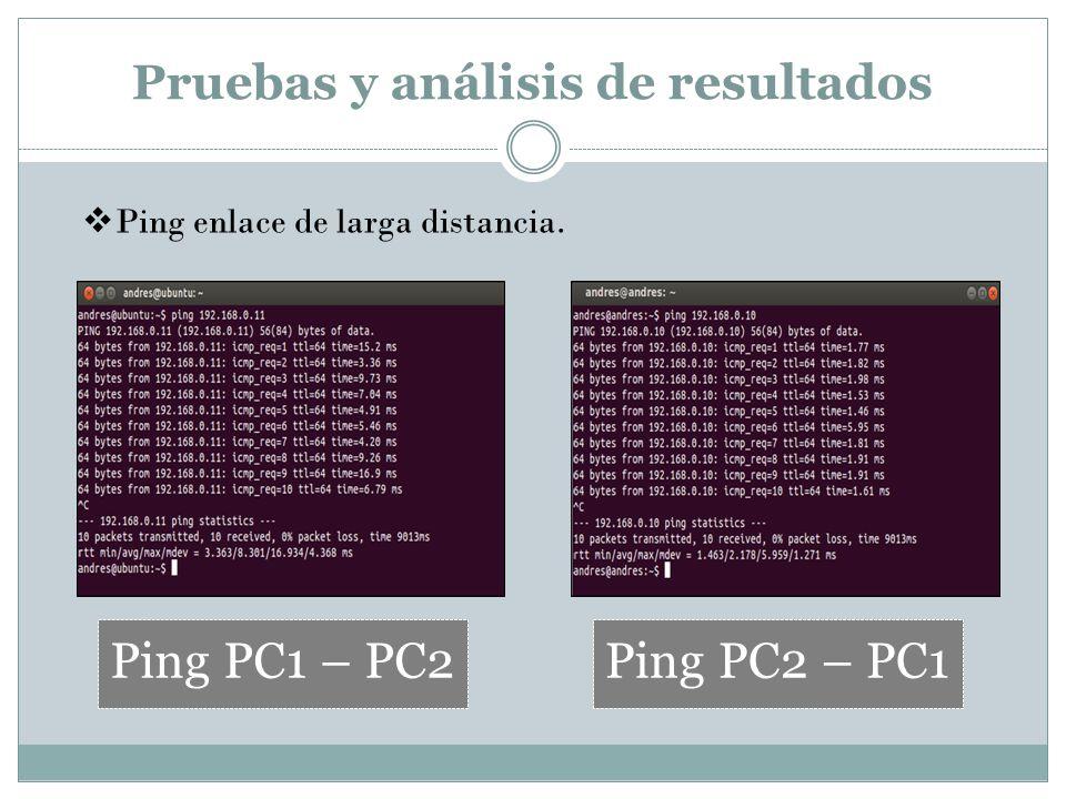 Pruebas y análisis de resultados Ping PC1 – PC2Ping PC2 – PC1 Ping enlace de larga distancia.