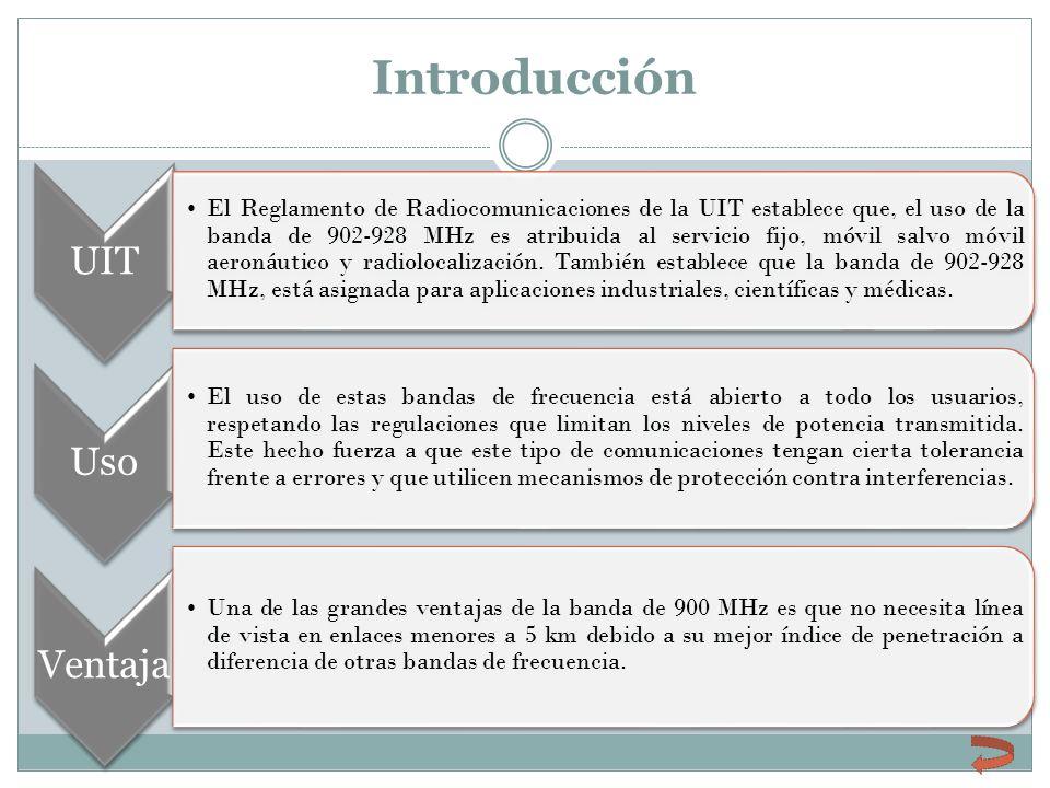 Introducción UIT El Reglamento de Radiocomunicaciones de la UIT establece que, el uso de la banda de 902-928 MHz es atribuida al servicio fijo, móvil
