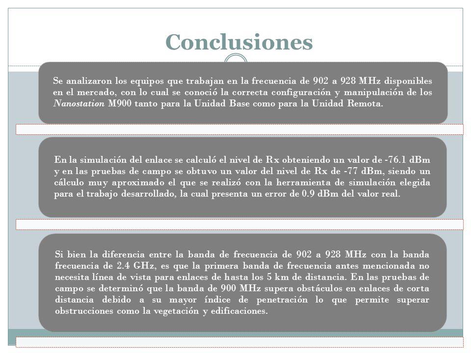 Conclusiones Se analizaron los equipos que trabajan en la frecuencia de 902 a 928 MHz disponibles en el mercado, con lo cual se conoció la correcta co