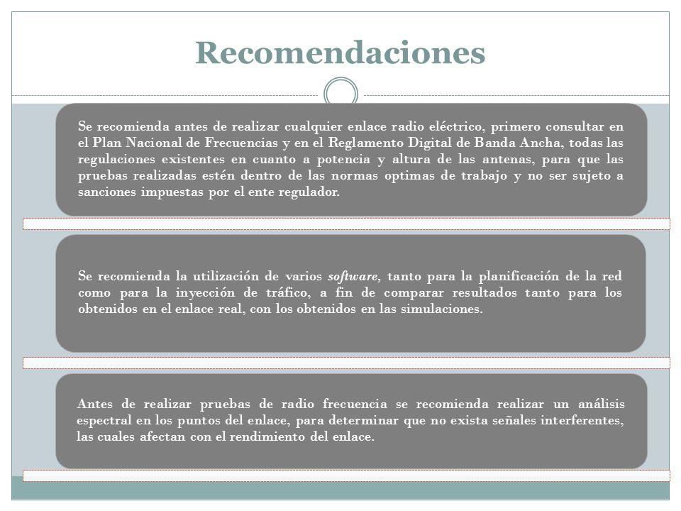 Recomendaciones Se recomienda antes de realizar cualquier enlace radio eléctrico, primero consultar en el Plan Nacional de Frecuencias y en el Reglame