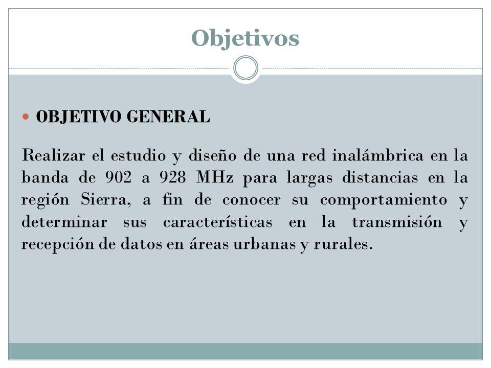 Objetivos OBJETIVO GENERAL Realizar el estudio y diseño de una red inalámbrica en la banda de 902 a 928 MHz para largas distancias en la región Sierra